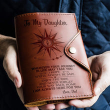 Load image into Gallery viewer, Dad To Daughter-Always Here For You Engraved Leather Passport Holder