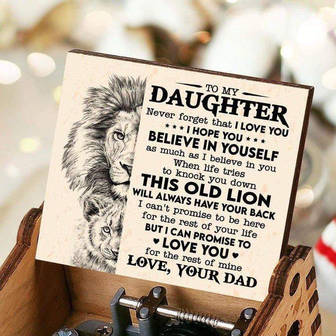 Dad To Daughter-Believe In Yourself Engraved Wooden Music Box  MUSICBOX019