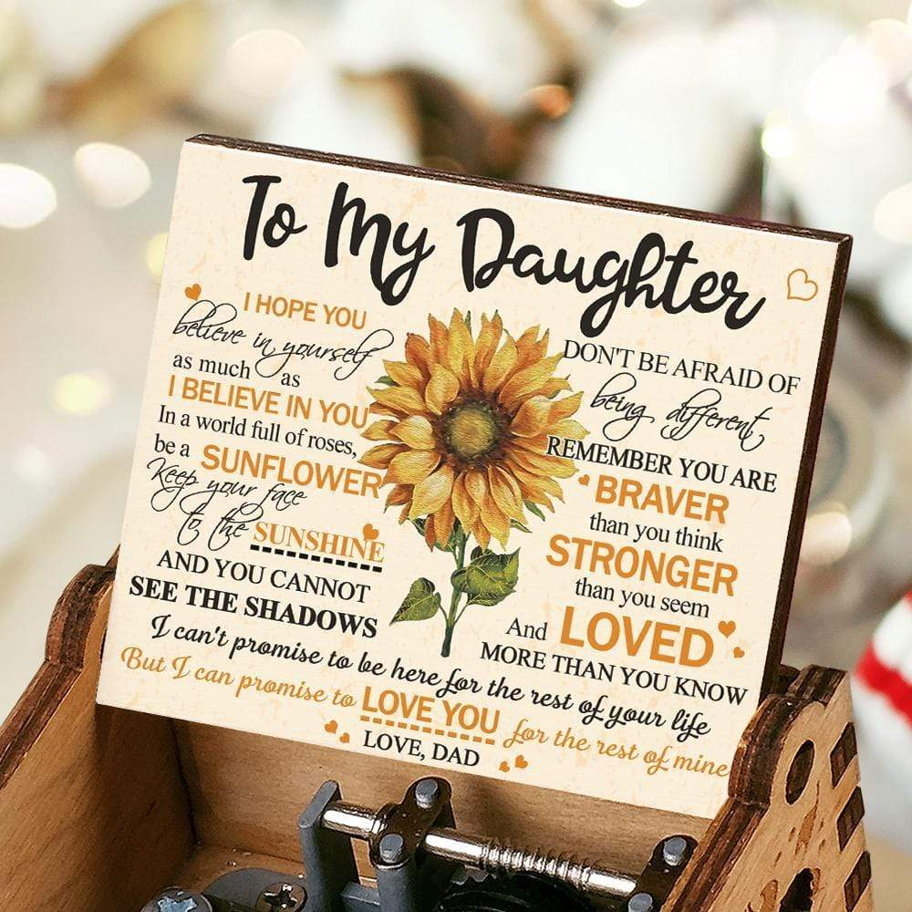 Dad To Daughter-Promise To Love You Engraved Wooden Music Box  MUSICBOX008