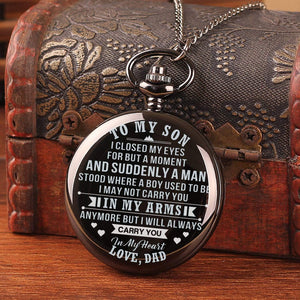 Dad To Son-Always Carry You In My Heart Quartz Pocket Chain Watch 4508