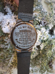 Dad to Son-Always Here For You Engraved Wooden Watch