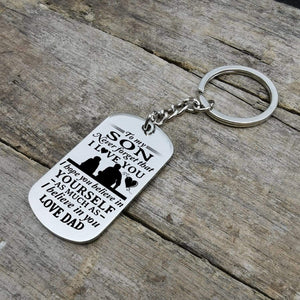 Dad To Son-Believe In Yourself Personalized Dog Tags 6061