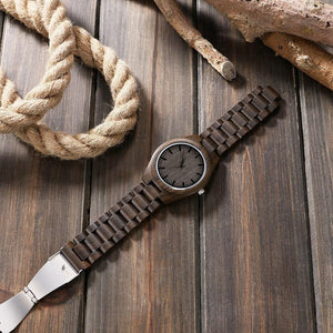 Dad to Son Engraved Natural Ebony Wooden Watch