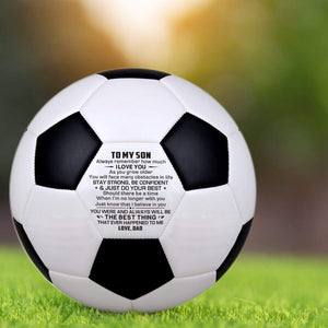 Dad To Son Engraved Soccer Ball Gift 002