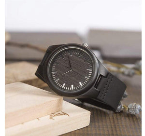 Dad to Son Engraved Wooden Watch Blue Second