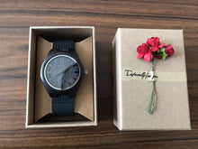Load image into Gallery viewer, Dad to Son Engraved Wooden Watch Blue Second
