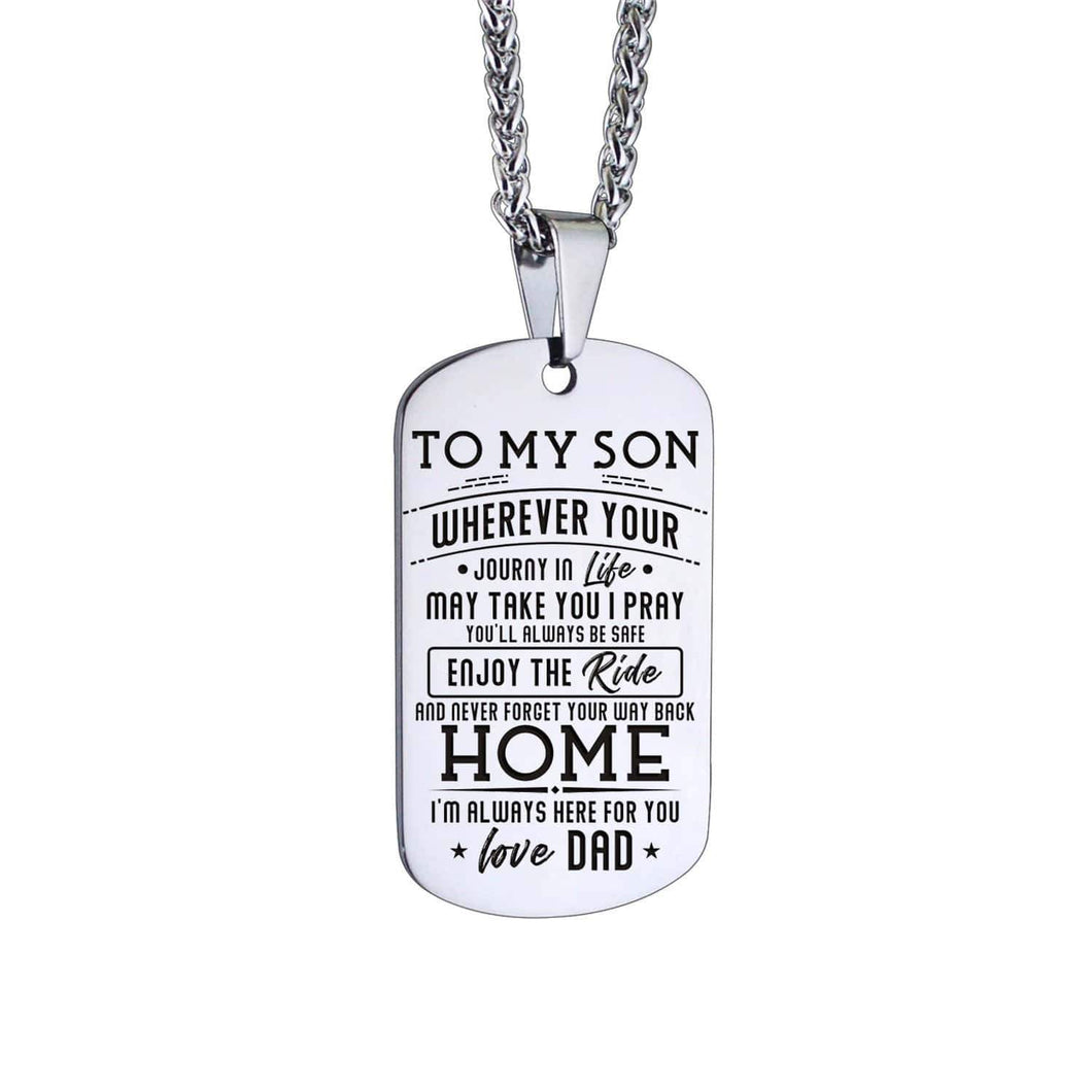 Dad To Son-Here For You Personalized Dog Tags For Graduation Birthday Gift 6048 Necklace