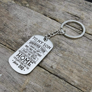 Dad To Son-Here For You Personalized Dog Tags For Graduation Birthday Gift 6048