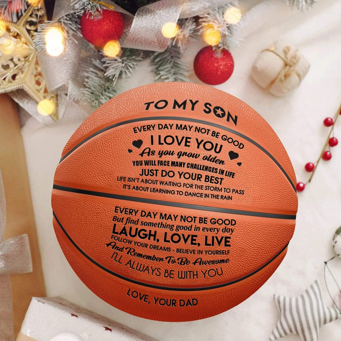 Dad To Son I always Be With You Engraved Basketball Ball 002