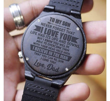 Load image into Gallery viewer, Dad to Son-I believe In You Engraved Wooden Watch I Believe In You From Dad
