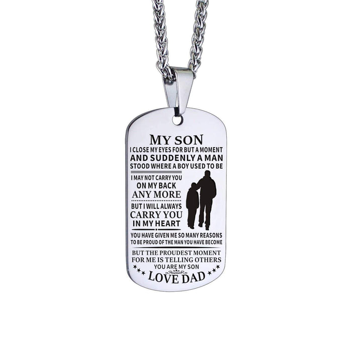 Dad To Son-I Will Always Carry You In My Heart Personalized Dog Tags 6060 Necklace