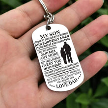 Load image into Gallery viewer, Dad To Son-I Will Always Carry You In My Heart Personalized Dog Tags 6060 Keychain