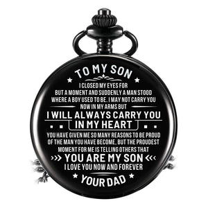 Dad To Son-Love You Now And Forever Personalized Engraved Quartz Pocket Chain Watch 4544