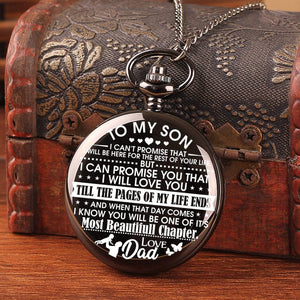 Dad To Son-Love You Till The End Of My Life Personalized Engraved Quartz Pocket Chain Watch 4535