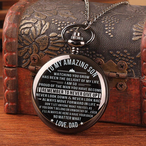 Dad To Son-Never Give Up Personalized Engraved Quartz Pocket Chain Watch 4516