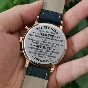 Dad To Son-Never Lose Customized Leather Strap Metal Engraved Wrist Watch k4530