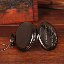 Load image into Gallery viewer, Dad To Son-Never Lose Personalized Engraved Quartz Pocket Chain Watch 4530