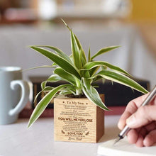 Load image into Gallery viewer, Dad To Son Personalized Steamed Beech Micro Plant Pot PL005