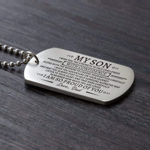 Dad To Son-Proud Of You Personalized Dog Tags For Graduation Birthday Gift 6013 Necklace