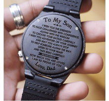 Load image into Gallery viewer, Dad to Son- So Proud Of You Engraved Wooden Watch So Proud Of You From Dad