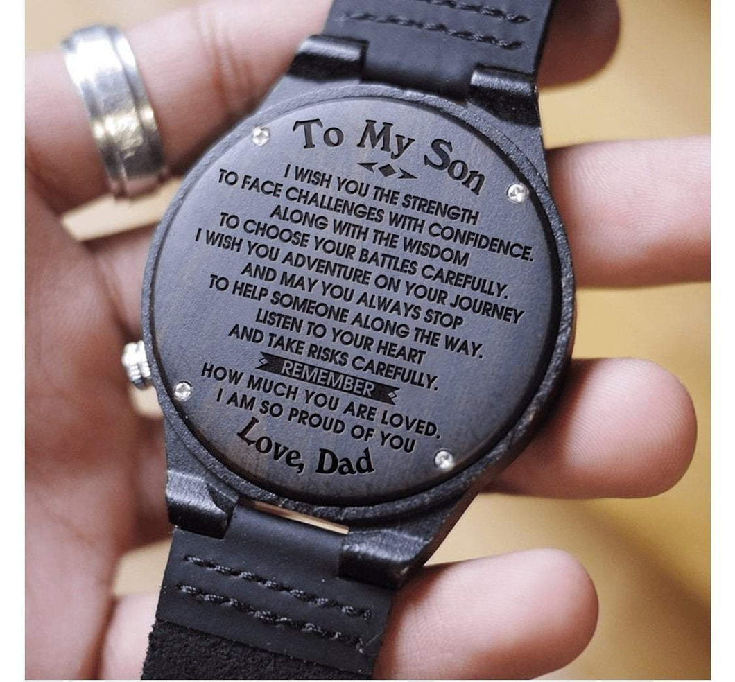 Dad to Son- So Proud Of You Engraved Wooden Watch So Proud Of You From Dad