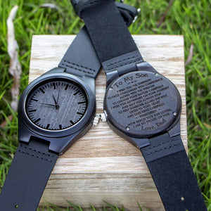 Dad to Son- So Proud Of You Engraved Wooden Watch