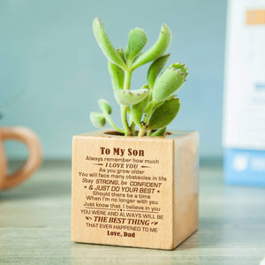 Dad To Son-The Best Thing Personalized Steamed Beech Micro Plant Pot PL019