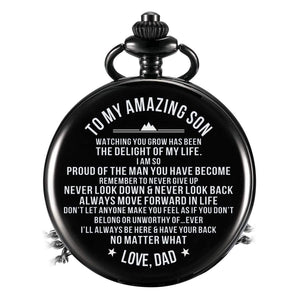 Dad To Son-The Delight Of My Life Quartz Pocket Chain Watch 4509