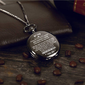 Dad To Son-You Are My Son Personalized Engraved Quartz Pocket Chain Watch 4520