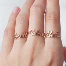 Load image into Gallery viewer, Dainty Any Custom Name Ring Personalized Handwriting Signature Rings Customized Gift For Her Handmade Jewelry Stainless Steel