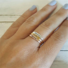Load image into Gallery viewer, Delicate Personalized Stackable Ring Custom Engraved Initial Date Coordinates Name Rings For Lover Best Friend Memorial Jewelry