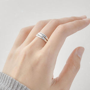 Delicate Personalized Stackable Ring Custom Engraved Initial Date Coordinates Name Rings For Lover Best Friend Memorial Jewelry