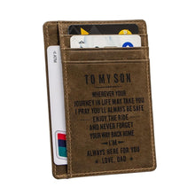 Load image into Gallery viewer, Engraved Leather Front Pocket Wallet, Color - Dad for Son