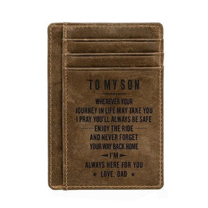 Engraved Leather Front Pocket Wallet, Color - Dad for Son