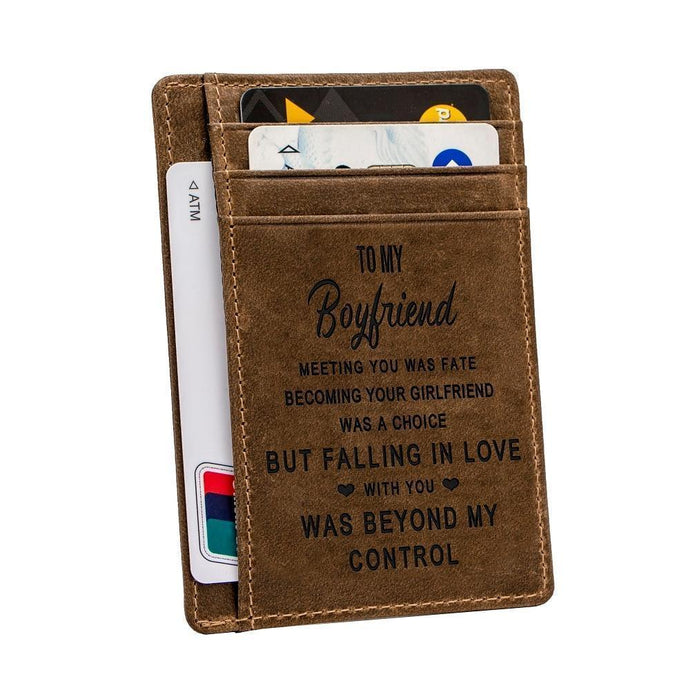 Engraved Leather Front Pocket Wallet, Color - for Boyfriend