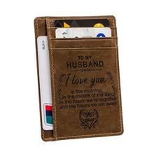 Load image into Gallery viewer, Engraved Leather Front Pocket Wallet, Color - for Husband