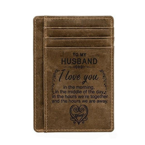 Engraved Leather Front Pocket Wallet, Color - for Husband