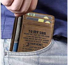 Load image into Gallery viewer, Engraved Leather Front Pocket Wallet, Color - Mom for Son