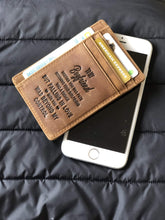Load image into Gallery viewer, Engraved Leather Front Pocket Wallet  for Boyfriend