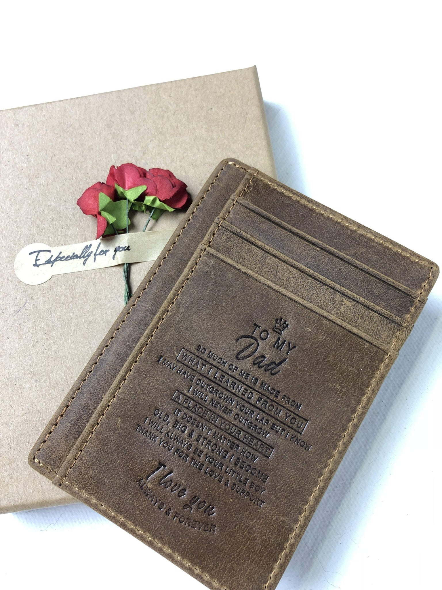 Custom Wallet Minimalist Slim Wallet Personalized Gift For Father Engraved Leather Front Pocket Wallet