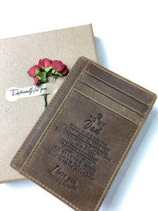 Son to Dad Engraved Leather Front Pocket Wallet