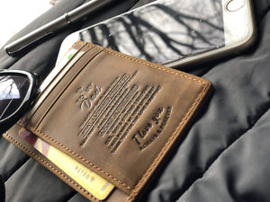 Engraved Leather Front Pocket Wallet for Dad from Son