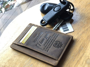 Engraved Leather Front Pocket Wallet  for Husband