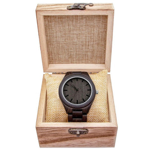 Engraved Natural Ebony Wooden Watch, Color - Dad for Son