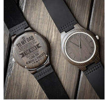 Load image into Gallery viewer, Engraved Wooden Watch For Dad
