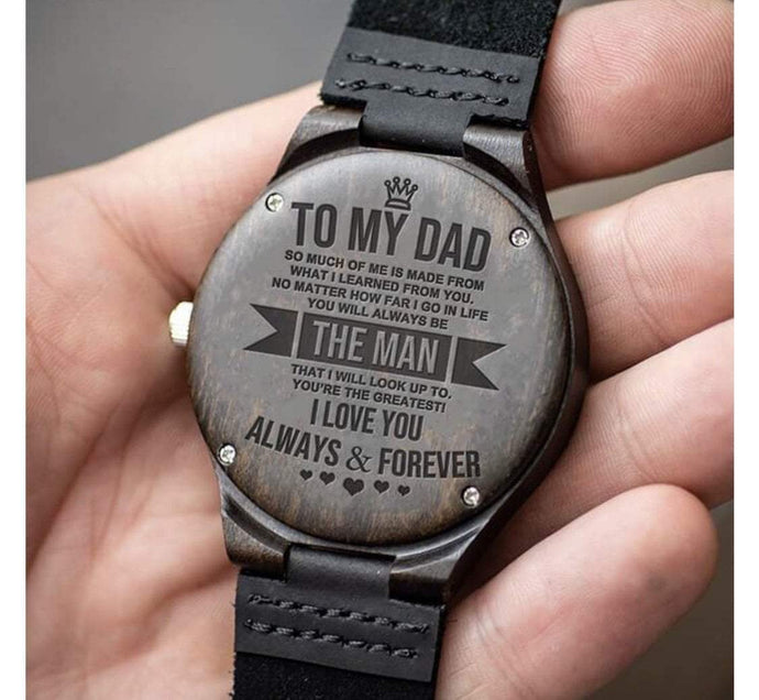 Engraved Wooden Watch For Dad