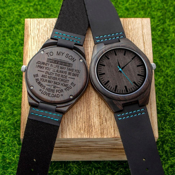 Engraved Wooden Watch For Men (Blue Second), Color - Dad for Son
