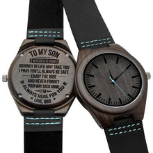 Load image into Gallery viewer, Engraved Wooden Watch For Men (Blue Second), Color - Dad for Son