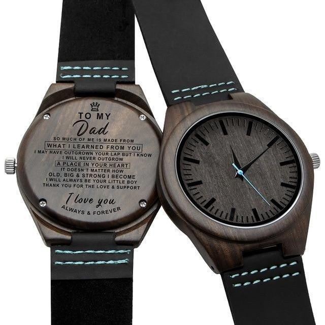 Engraved Wooden Watch For Men (Blue Second), Color - for Dad