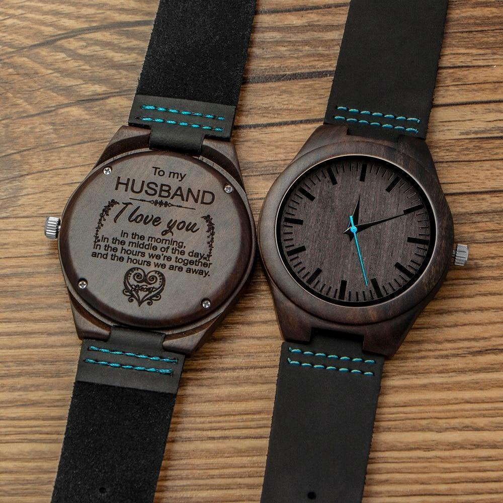 Engraved Wooden Watch For Men (Blue Second), Color - for Husband